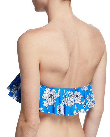 Floral-Print Ruffle Bandeau Bikini Top