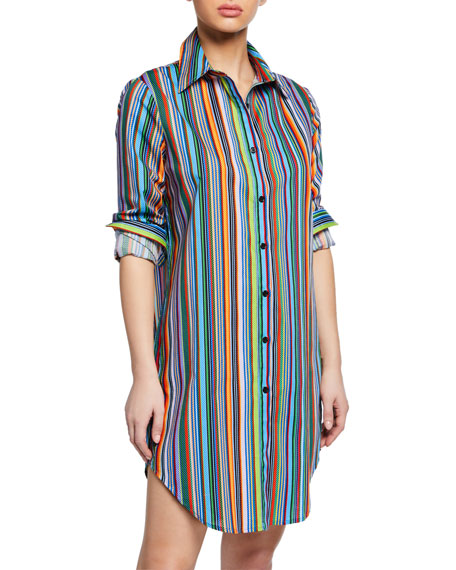 Jessica Striped Button-Front Long-Sleeve Coverup