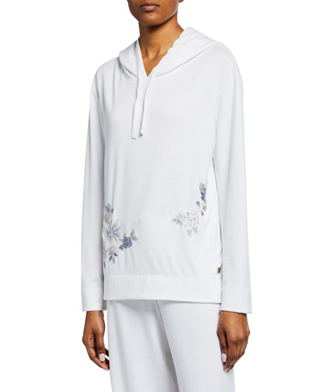 Image 1 of 1: Zen Floral-Embroidered Hoodie