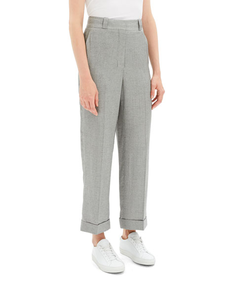 Fluid Melange Straight Cuffed Pants