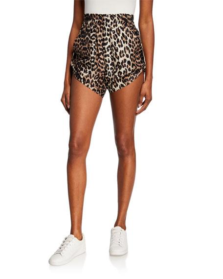 Ganni Leopard-Print Linen-Silk Shorts w/ Roll Tabs