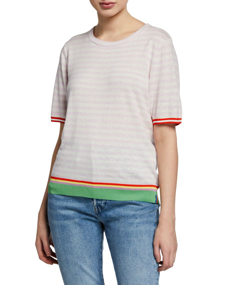 Image 1 of 1: The Evelyn Striped Short-Sleeve Cotton Top