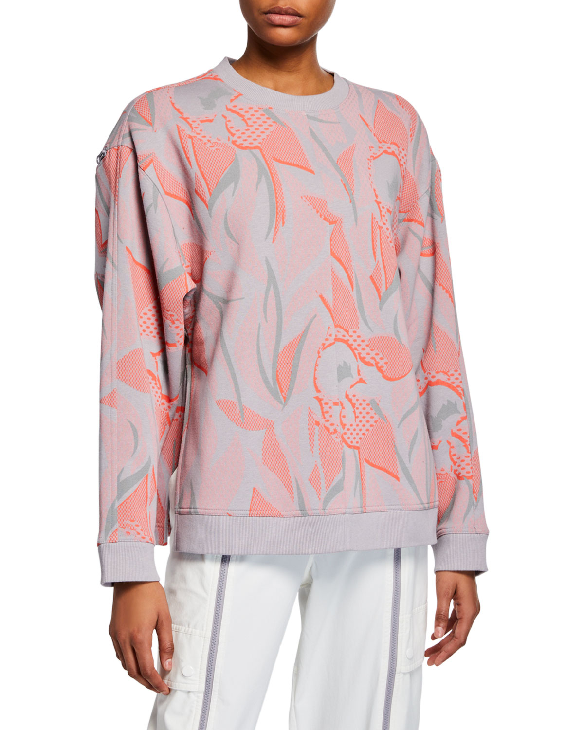 shades of great look strong packing Floral Print Sweatshirt w/ Zippers