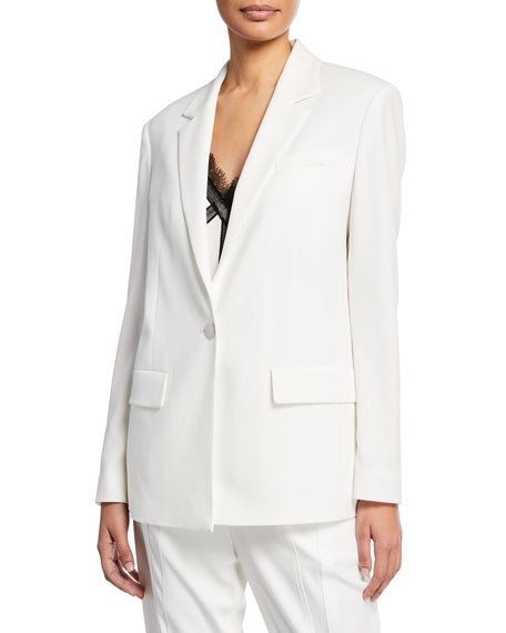 One-Button Satin Back Crepe Jacket