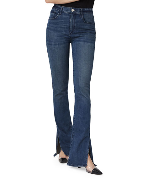 3x1 High-Rise Slim Bell Boot-Cut Jeans w/ Split
