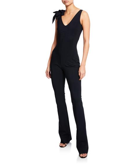 Suni V-Neck Sleeveless Straight-Leg Jumpsuit w/ 3D Flower Shoulder