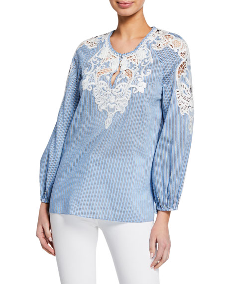 Hadley Striped Long-Sleeve Blouse with Embroidery