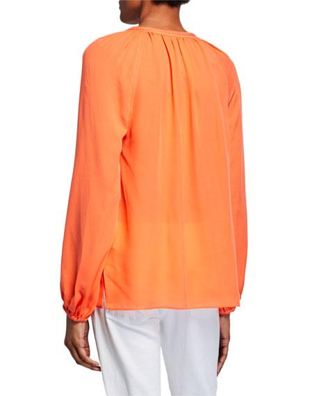 Kirna V-Neck Long-Sleeve Silk Blouse