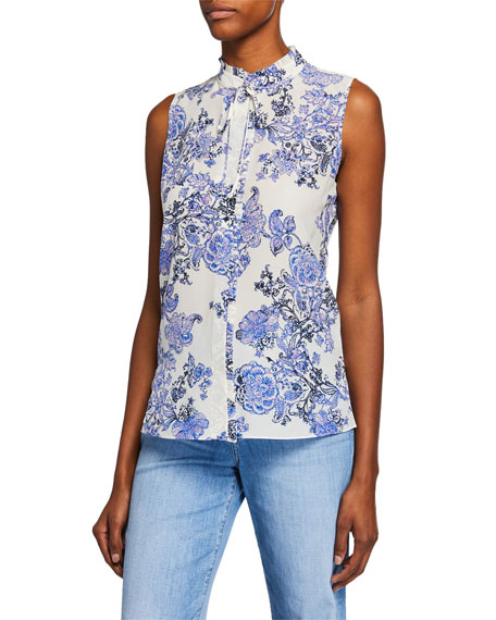 Image 1 of 1: Hazel Floral Mock-Neck Sleeveless Blouse