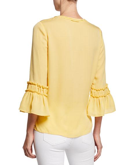 Kyle 3/4-Sleeve Silk Blouse