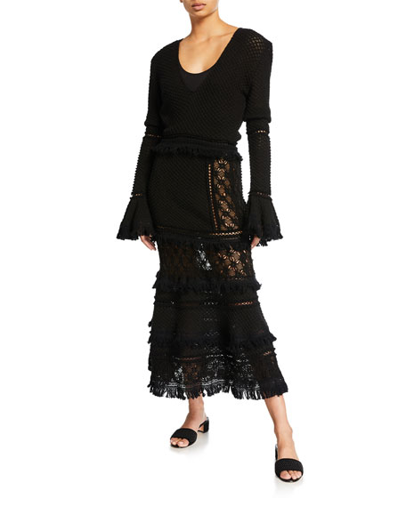 Image 1 of 1: Lace Combo Long-Sleeve Maxi Dress