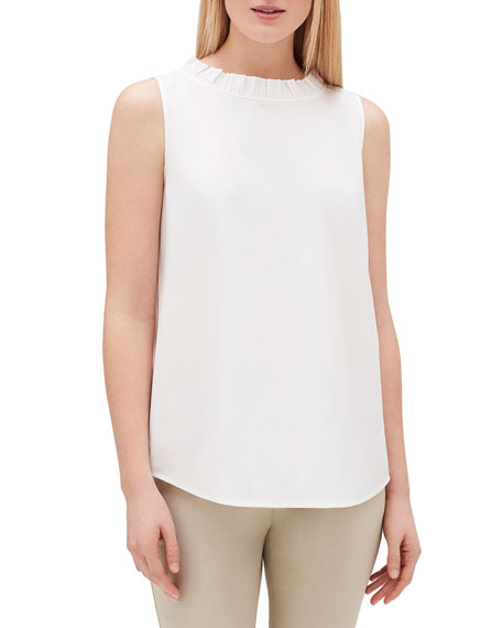 Lafayette 148 Tops YVETTE SLEEVELESS ITALIAN STRETCH COTTON BLOUSE