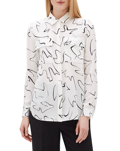 Zora Scribble Print Long-Sleeve Silk Blouse