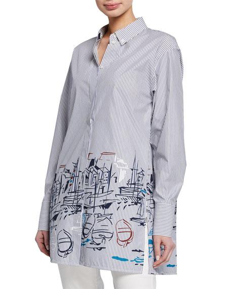 Kehlani Striped Lido-Print Button-Down Long-Sleeve Blouse