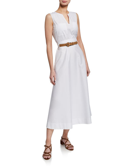 Lafayette 148 New York Janelle Sleeveless Belted Stretch-Cotton