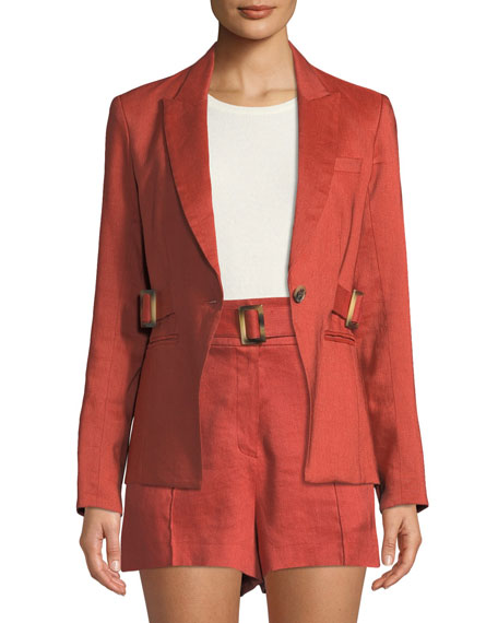 Veronica Beard Jackets BALTAZAR LINEN PEPLUM DICKEY JACKET