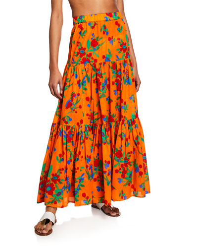 Floral-Print Tiered Coverup Maxi Dress