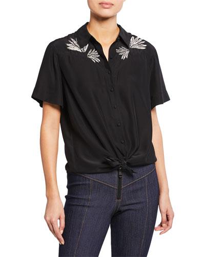 Bridget Embroidered Button-Front Silk Top