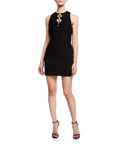 Irene Lace-Up Sleeveless Cocktail Dress