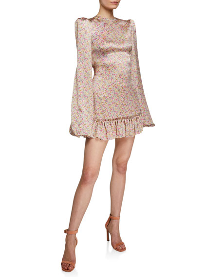 Floral Silk Blouson-Sleeve Tie-Back Shift Dress