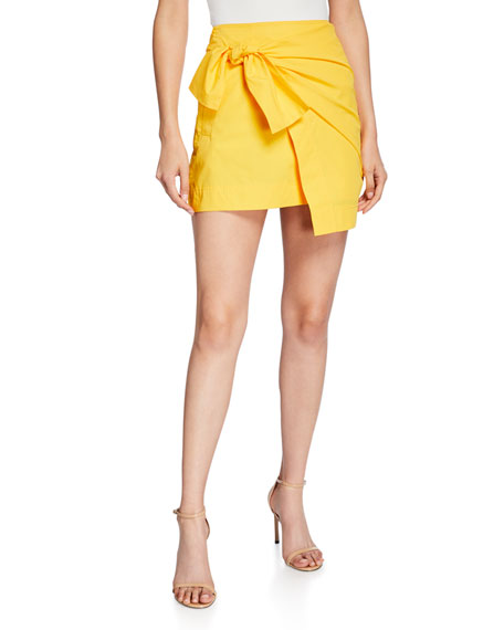 Draped Faux-Wrap Mini Skirt