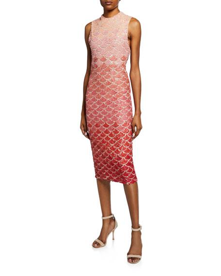 Rosalee Embellished Mock-Neck Midi Gown