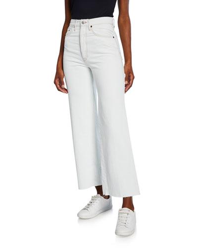 Wide-Leg Crop Denim Jeans