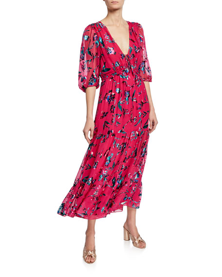 Tanya Taylor DULCE FLORAL BURNOUT V-NECK RUFFLE DRESS