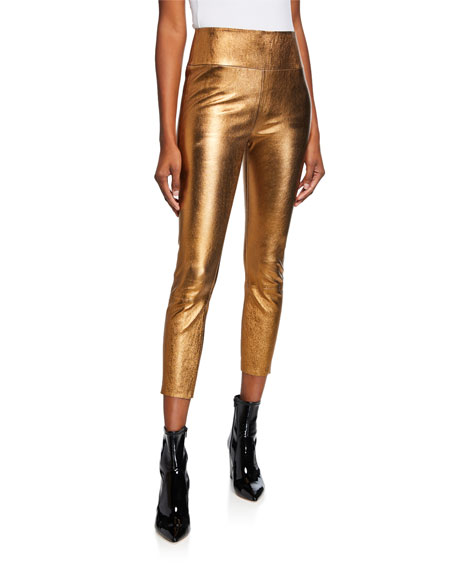 High-Rise Metallic 3/4 Leggings