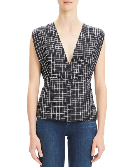 Image 1 of 1: Pleated Check V-Neck Kimono Top