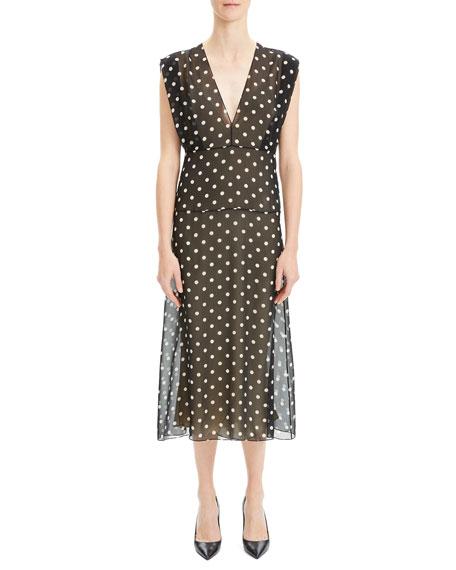 Deep V Dot-Print Sleeveless Silk Midi Dress