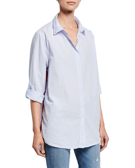 Image 1 of 1: Striped Button-Down Oversized Cotton Shirt