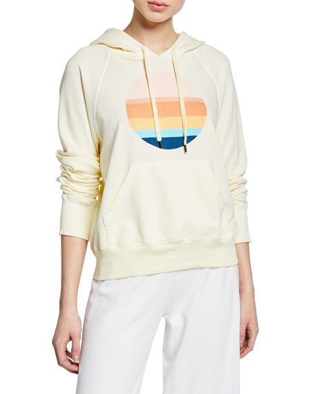 Image 1 of 1: Striped Circle Pullover Hoodie with Kangaroo Pocket