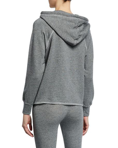 Striped Raglan-Sleeve Crop Pullover Hoodie