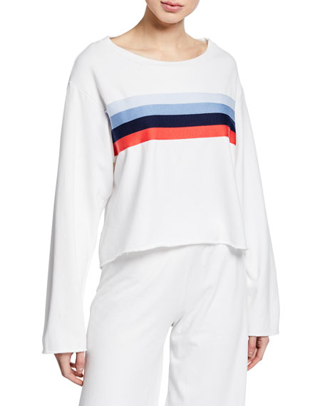 Striped Raw-Edge Boxy Cotton Sweatshirt