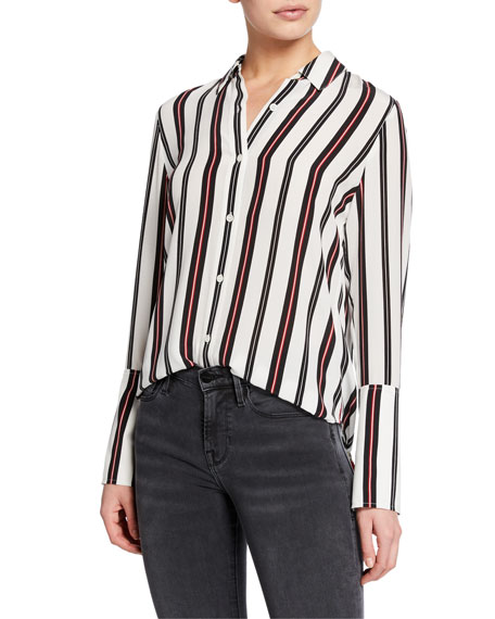 Image 1 of 1: Striped Button-Front Cuffed Silk Blouse