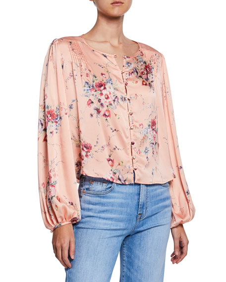 Image 1 of 1: Talia Cropped Silk Button-Front Top