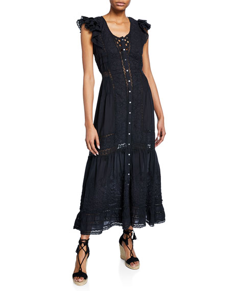 Valentina Embroidered Short-Sleeve Ruffle Dress
