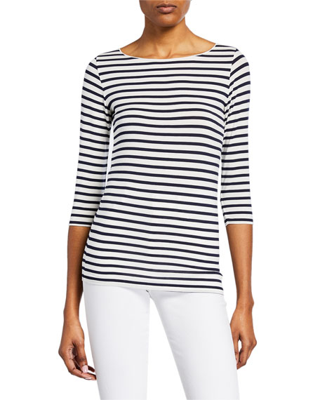 Marrow Striped Boat-Neck 3/4-Sleeve Soft Touch Top