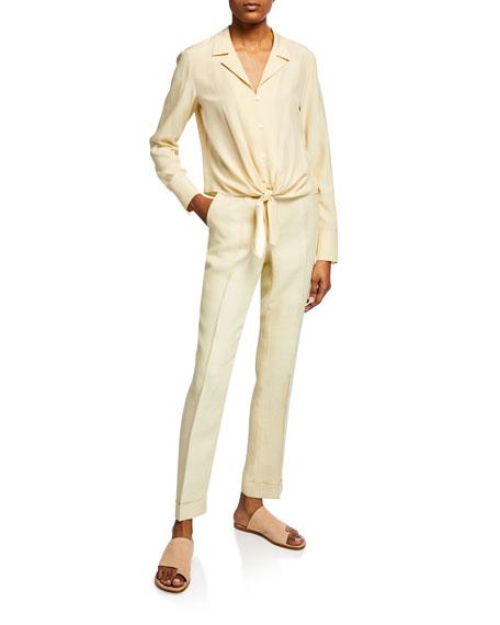 Straight-Leg Cuffed Linen Pants