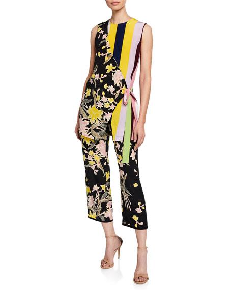 Lulu Cropped Floral-Print Silk Pants