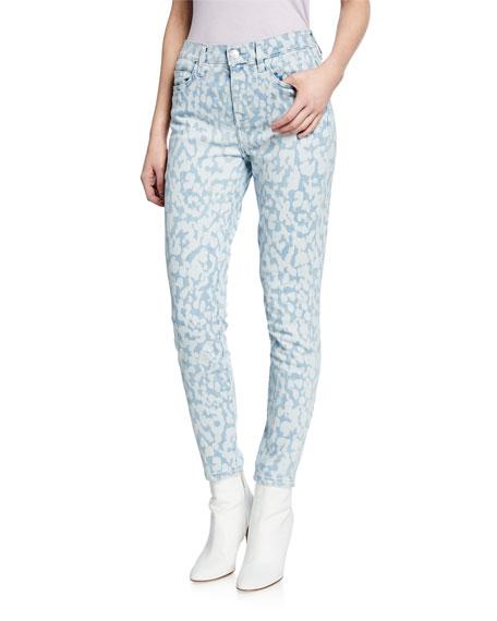 Current/Elliott The High Waist Stiletto Leopard Ankle Jeans