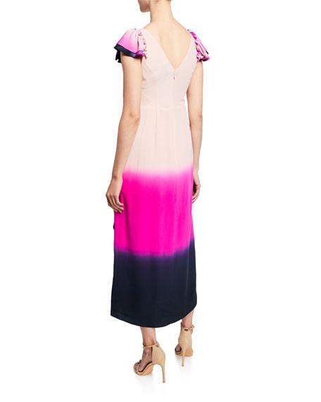 Socorro Flutter-Sleeve Embellished Long Dress
