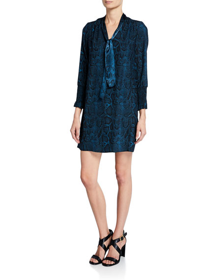 Snake-Print Tie-Neck Long-Sleeve Silk Dress