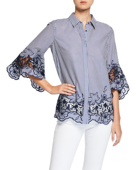 Clark Striped Button-Down Shirt with Embroidered Lace Insets