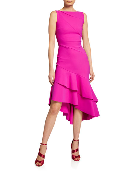 Image 1 of 1: Kennah Sleeveless Asymmetric Flounce-Hem Dress