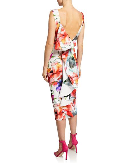 Madereh Floral-Print Sleeveless Midi Dress w/ Flounce Detail