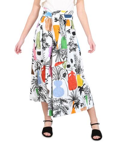 Kimani Printed Linen Skirt