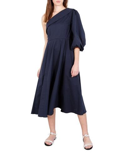 Paige One-Shoulder Cotton Midi Dress