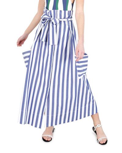 Striped High-Rise Pocket Skirt